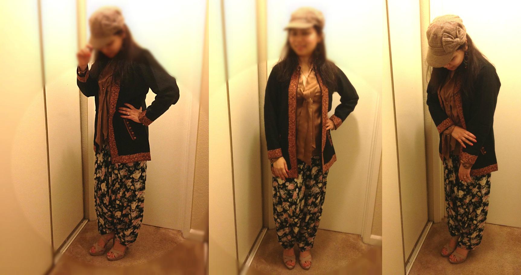 Kashmiri jacket-From Srinagar, India;Camel satin top-Mango;Jasmine pants-Sarojini market; Strappy heels-Agaci;Earrings-Goa, India; Beret-Wet Seal